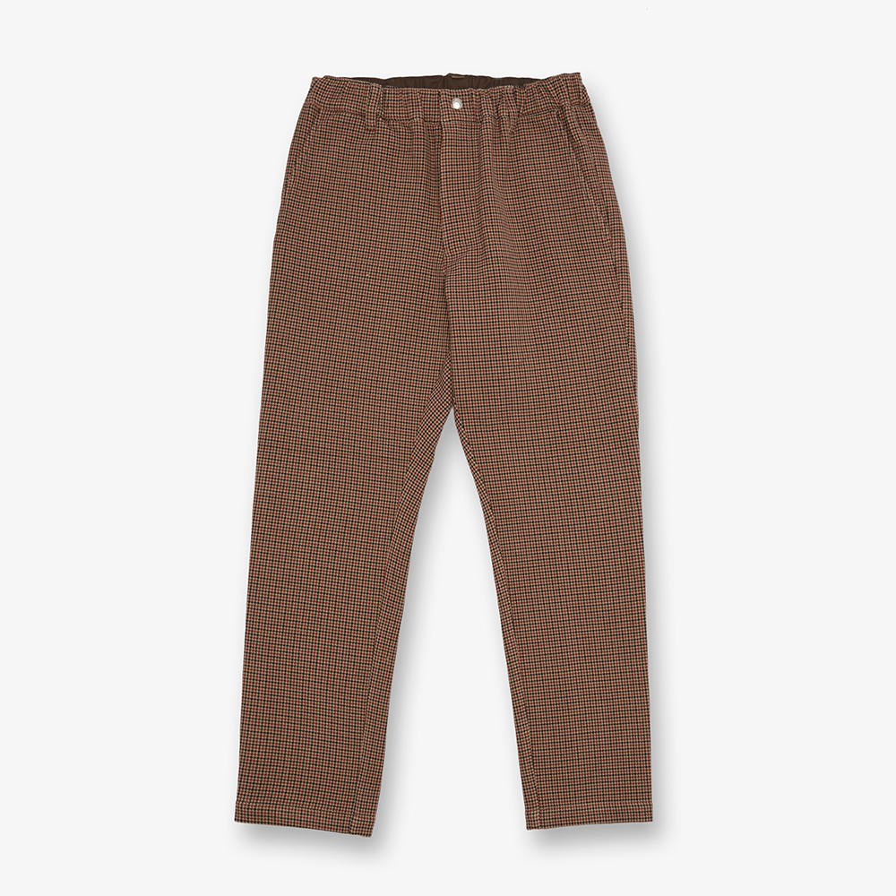 CHECK TAPARED PANTS BROWN