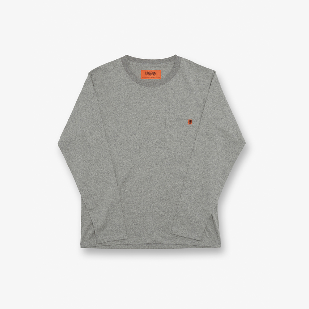 LONG SLEEVE POCKET TEE GREY