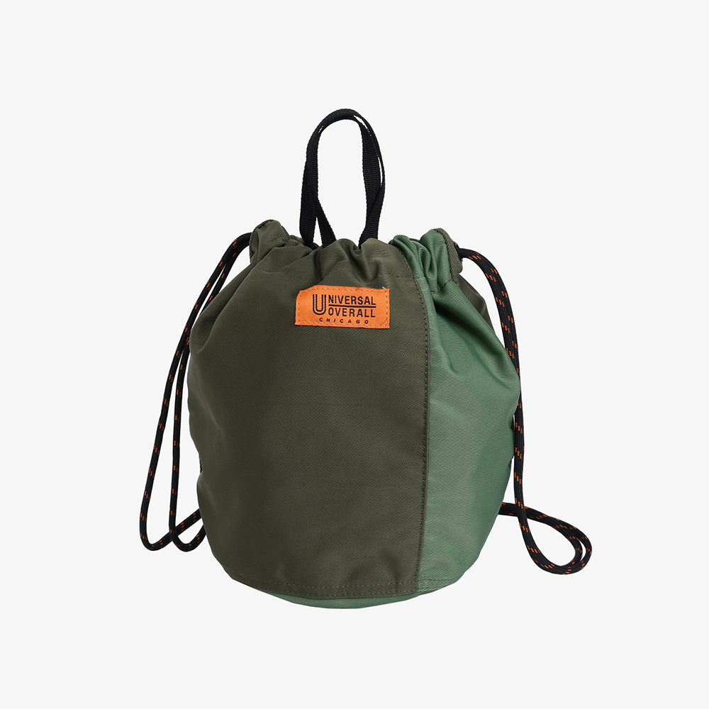 NYLON TWILL PATCH BUCKET BAG KHAKI