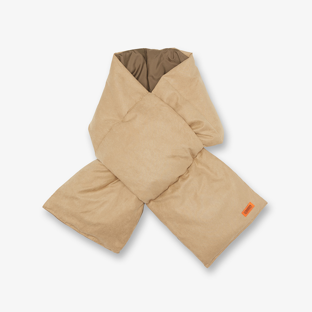 SUEDE DOWN PADDING SCARF BEIGE