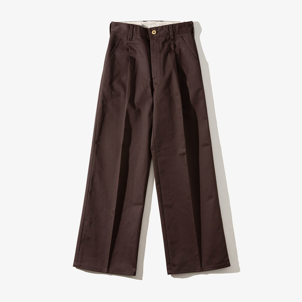 WOMENS WIDE PANTS DARK BROWN