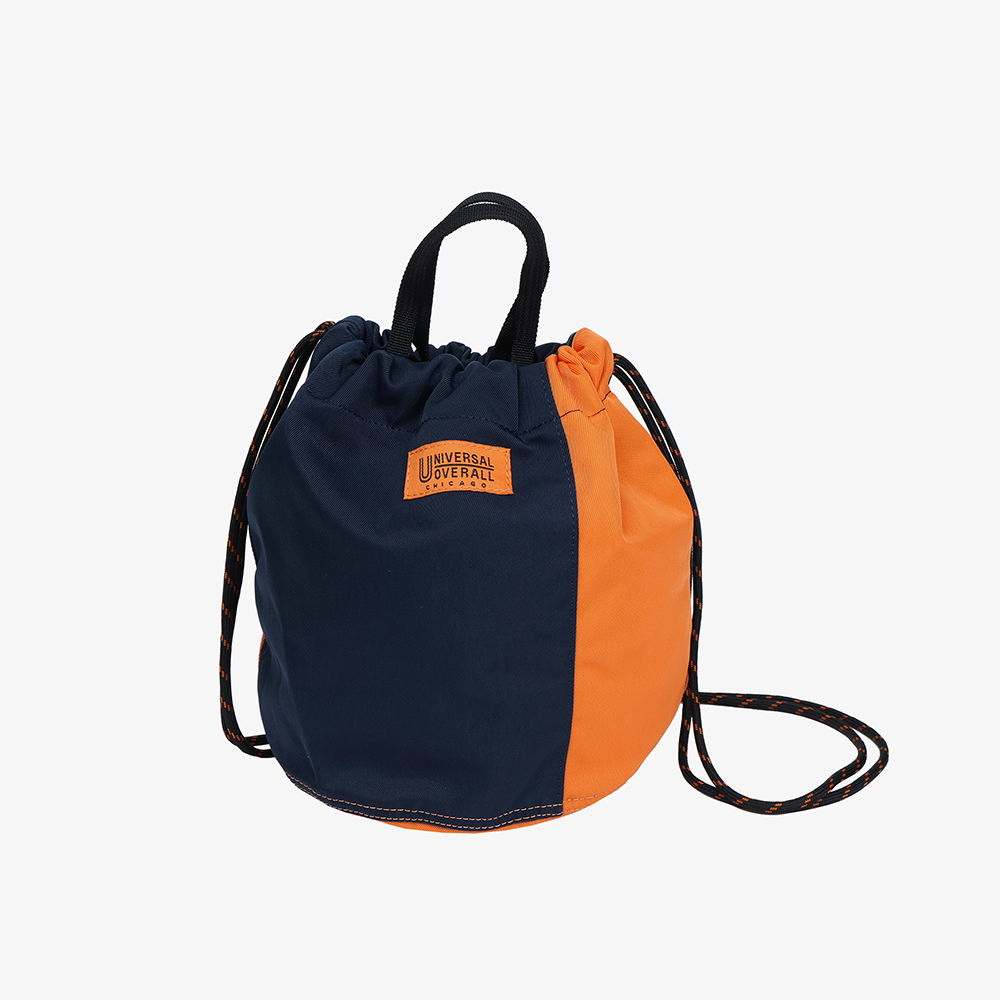 NYLON TWILL PATCH BUCKET BAG NAVY