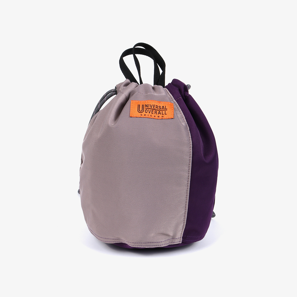 NYLON TWILL PATCH BUCKET BAG PURPLE